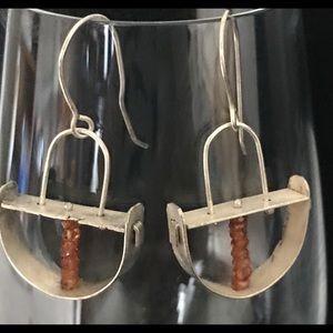 Rustic Natural Orange Garnet Earrings